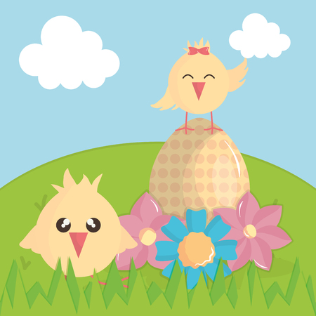 cute little chicks with egg painted in landscape vector illustration design