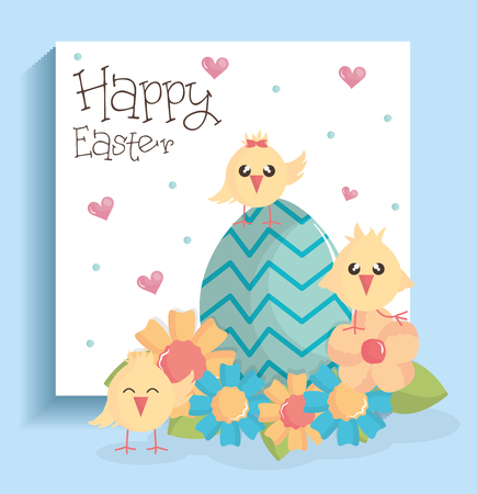 cute little chicks with egg painted and flowers vector illustration design 일러스트