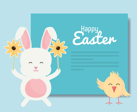 cute rabbit and chick easter characters vector illustration design
