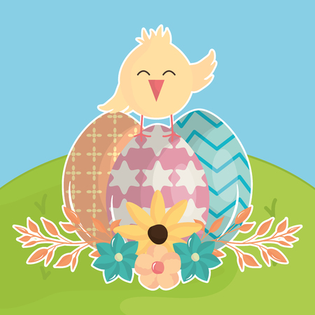 eggs painted with chick in the field happy easter vector illustration design
