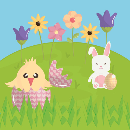 cute rabbit and chick in the field easter characters vector illustration design