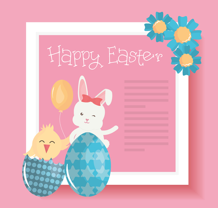 cute rabbit with easter egg painted and chick vector illustration design