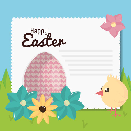 little chick with egg painted easter character vector illustration design 일러스트