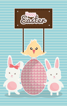 cute rabbits with easter eggs painted and chick vector illustration design