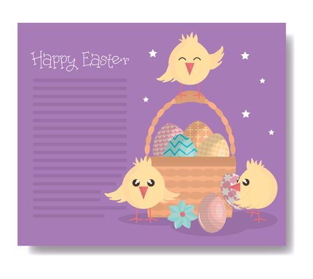 cute little chicks with basket and eggs easter characters vector illustration design