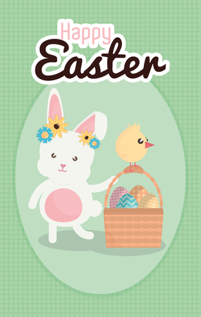 rabbit and chick with easter eggs painted in basket vector illustration design