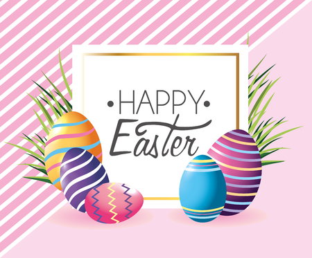 emblem with easter eggs decoration and grass vector illustration Ilustrace