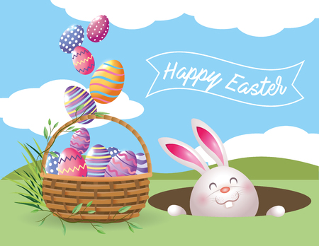 happy rabbit with easter eggs decoration and basket vector illustration Ilustrace