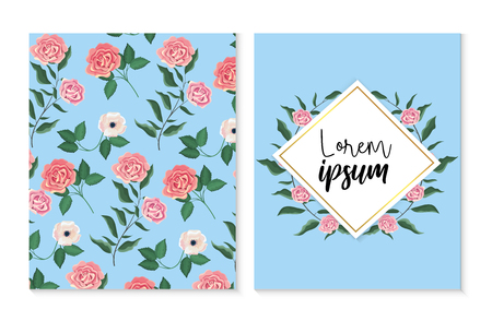 set card and lebel with roses and flowers plants vector illustration Illustration