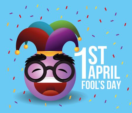 happy emoji with joker hat to fools day vector illustration