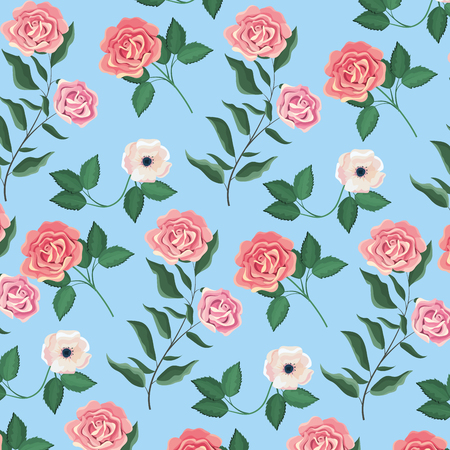 exotic flowers and roses plants background vector illustration