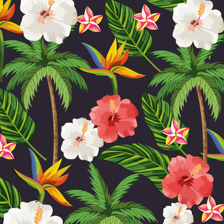 tropical flowers plants with leaves and plam background vector illustration Vetores
