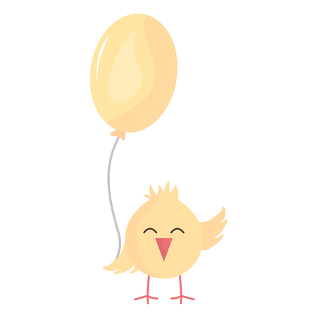 little chick with balloon helium cute, bunny character vector illustration design
