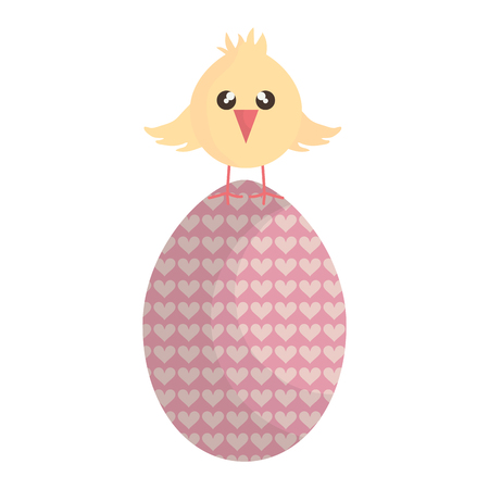 little chick with egg painted cute, bunny character vector illustration design