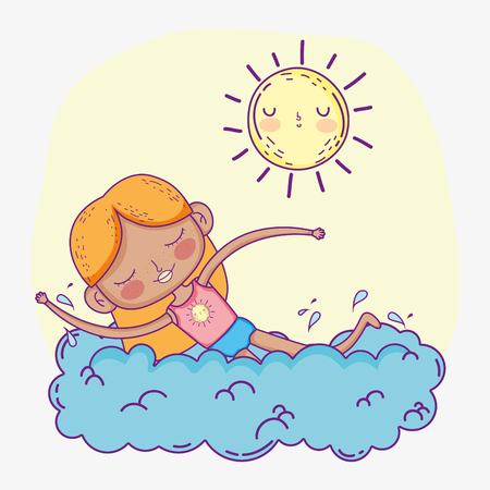 beauty girl play and swimming with sun vector illustration