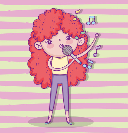 beauty girl play and singing with hairstyle vector illustration Illustration