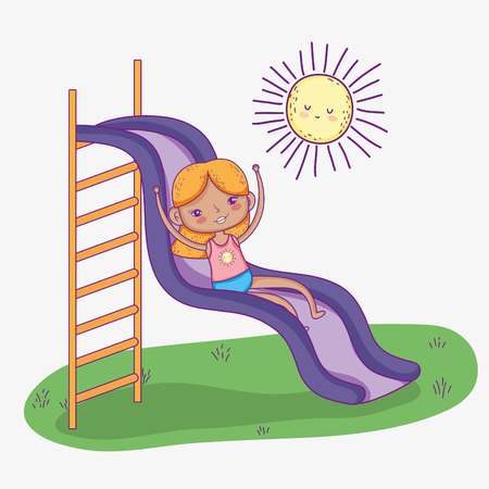 cute girl playing in the zone slide vector illustration