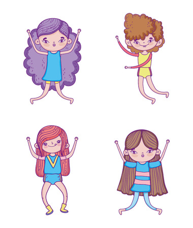 set funny girls with hairstyle and entertainment play vector illustration