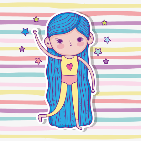 girl play wearing swimsuit with hairstyle and stars vector illustration Иллюстрация