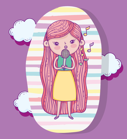 beauty girl play and singing with clouds vector illustration