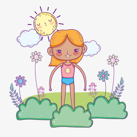 funny girl wearing swimsuit with sun and bushes vector illustration