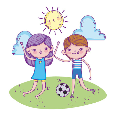 girl and boy play soccer with ball vector illustration
