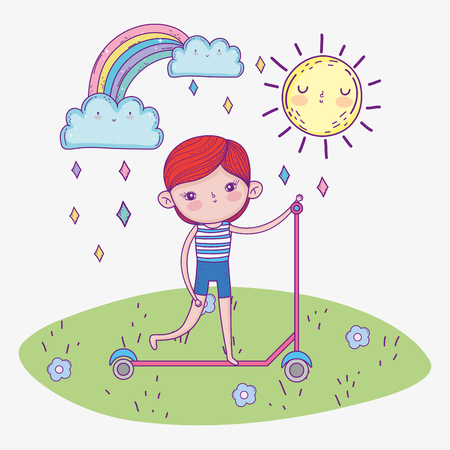 cute boy ride scooter with rainbow and sun vector illustration Иллюстрация