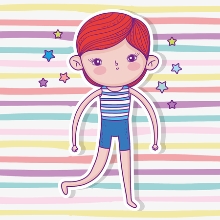 cute boy wearing swimsuit with hairstyle and playing vector illustration Иллюстрация