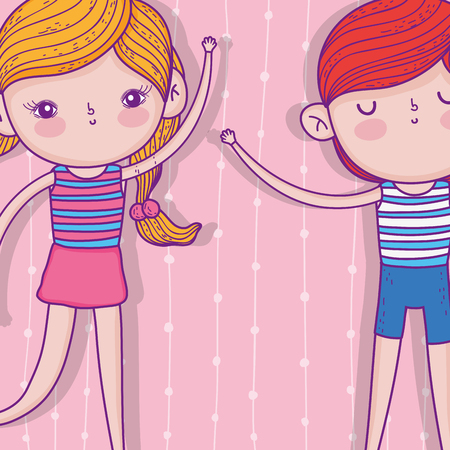 girl and boy with hairstyle and playing wearing swimsuit vector illustration
