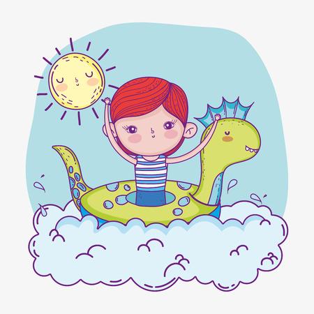 cute boy with dinosaur float and sun vector illustration Иллюстрация