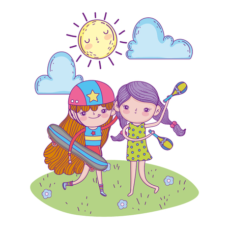 cute girls with maracas and skateboards with sun vector illustration Иллюстрация