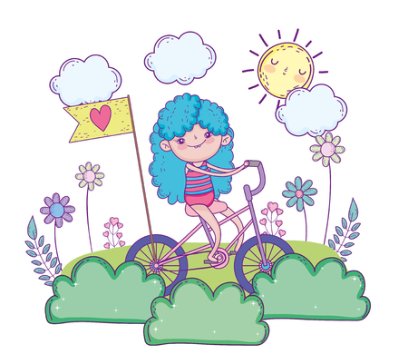 beauty girl play and ride bicycle vector illustration