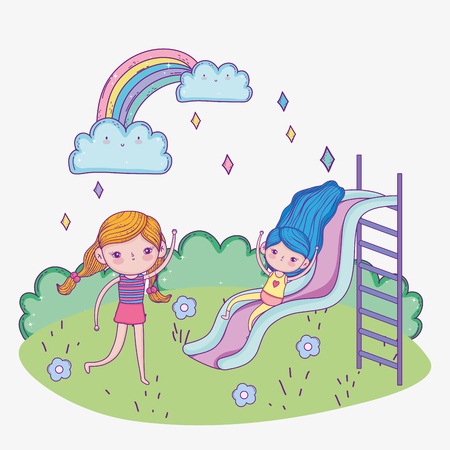 cute girls playing in the slide zone vector illustration Фото со стока - 124611232
