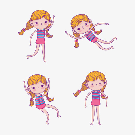 set beauty girl wearing swimsuit and playing vector illustration