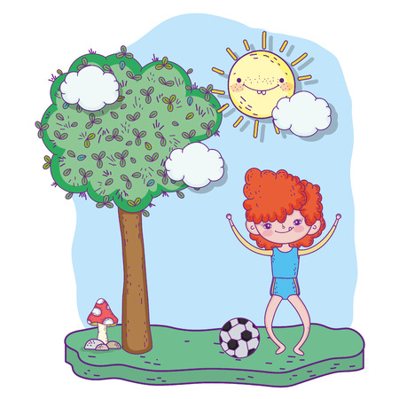 cute girl playing soccer with tree vector illustration Иллюстрация