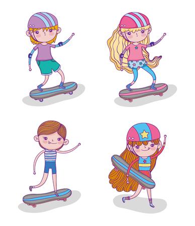 set children play skateboards and helmet vector illustration Иллюстрация