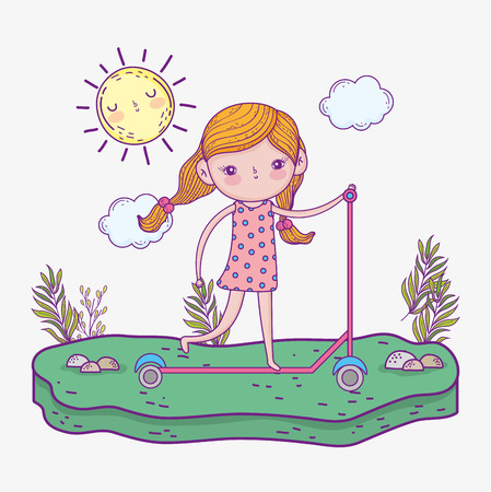 girl ride scooter with sun and plants vector illustration Фото со стока - 124611238