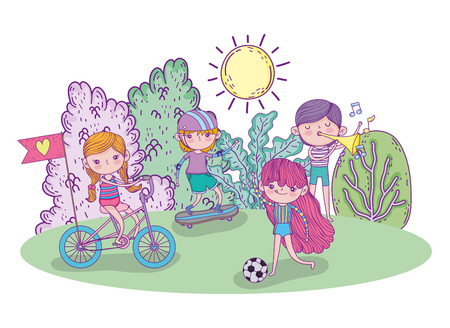 cute children funny in the play  vector illustration
