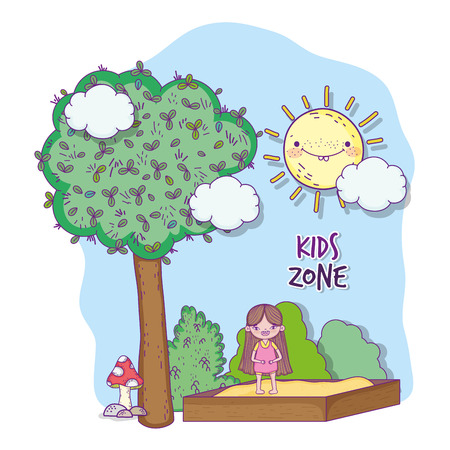 girl playing adventure in the kids zone vector illustration