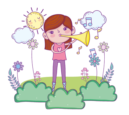cute girl playing trumpet instrument vector illustration