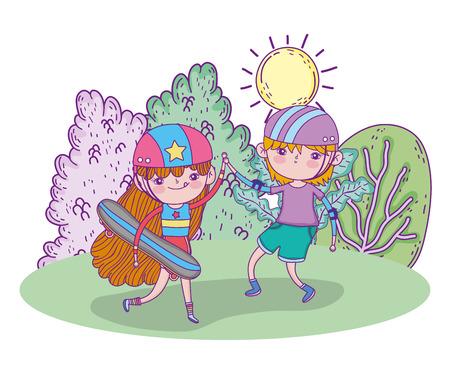 cute girl and boy play skateboards with helmet vector illustration