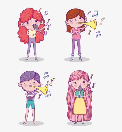 set beauty girls play trumpet instrument and singing vector illustration Иллюстрация