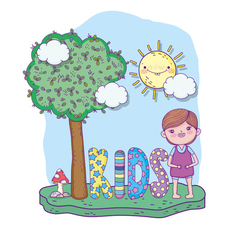 cute boy playing with tree and sun vector illustration