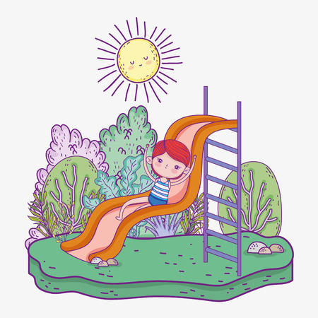 funny boy in the slide with sun and trees vector illustration