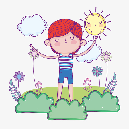 cute boy wearing swimsuit with sun and bushes vector illustration