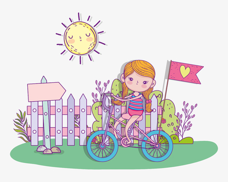 girl play and ride bicycle with sun vector illustration