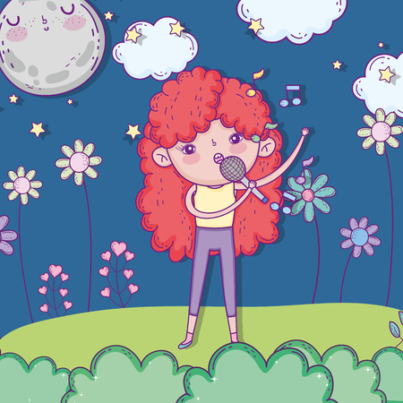 beauty girl singing music with clouds and flowers vector illustration Иллюстрация