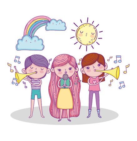 girls playing trumpet and singing with sun and rainbow vector illustration Иллюстрация