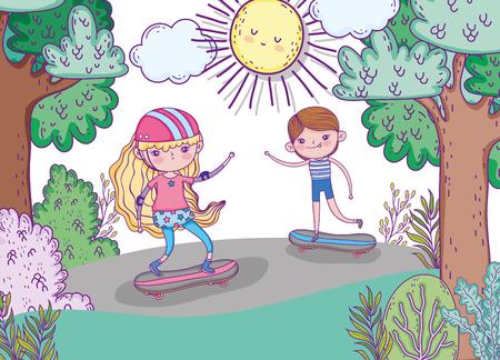 cute children play skateboards with helmet vector illustration Фото со стока - 124611253