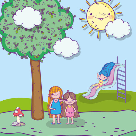 beauty girls playing with slider and tree vector illustration